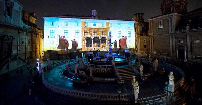 """""""Rinasce Palermo"""": spettacolare videomapping a Palazzo delle Aquile"""